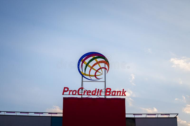 ProCreditBank logo on their main office for Serbia. Pro Credit Bank is a German financial institution specialized in banking. NPicture of the ProCreditBank sign stock image