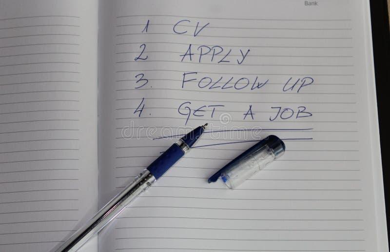 Procura de emprego - para fazer a lista fotografia de stock