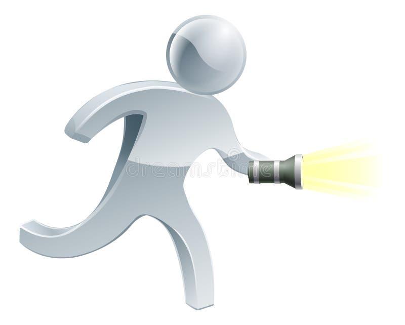 Procurando o homem da lanterna elétrica ilustração do vetor