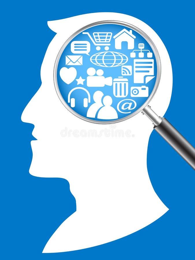 Procurando a rede na cabeça humana ilustração royalty free