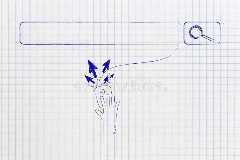 Procure a barra e o usuário que clicam no rato com setas do cursor ilustração stock