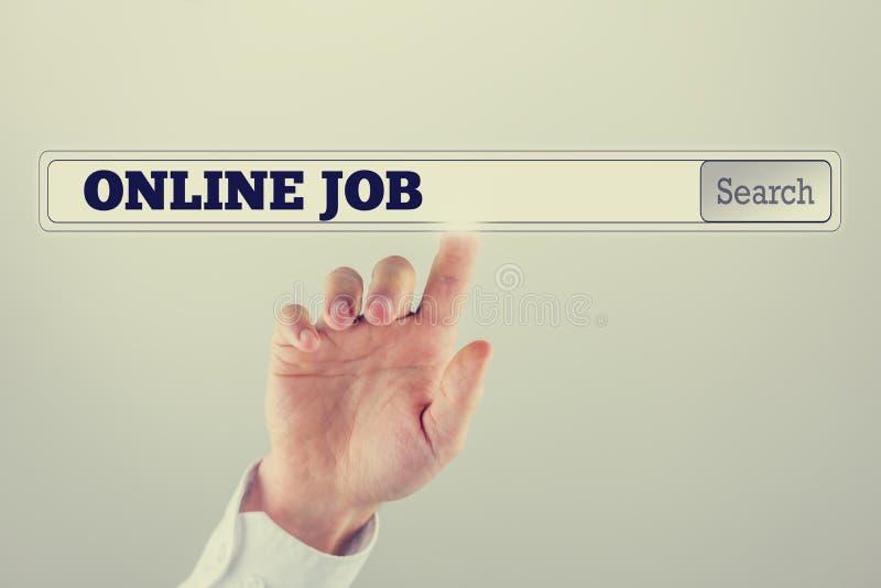 Procure a barra em um tela de computador virtual com texto do emprego on-line imagem de stock