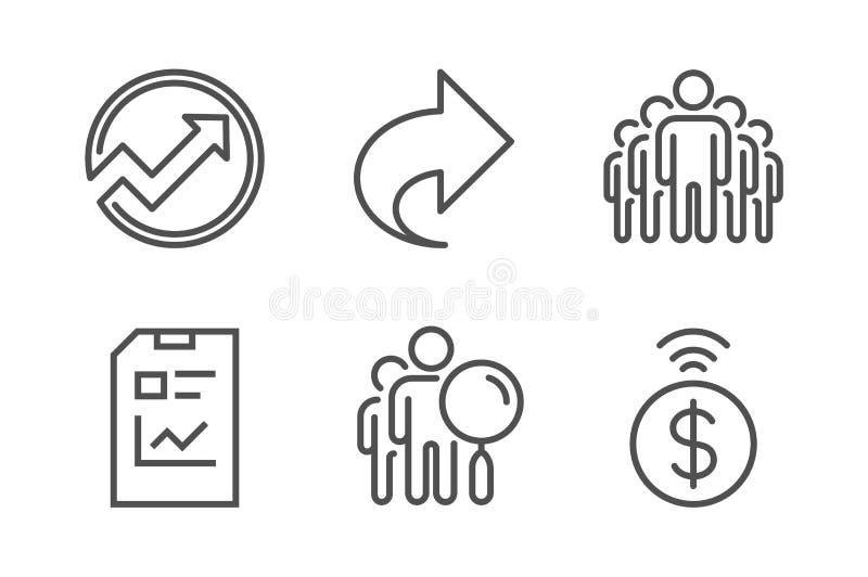 Procure o grupo dos povos, dos ?cones da parte e de grupo Documento da auditoria, do relat?rio e sinais sem contato do pagamento  ilustração stock