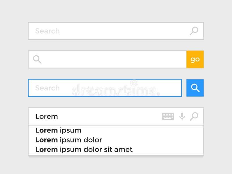 Procure o molde dos ícones do vetor do elemento do navegador de Internet do página da web da barra ilustração stock