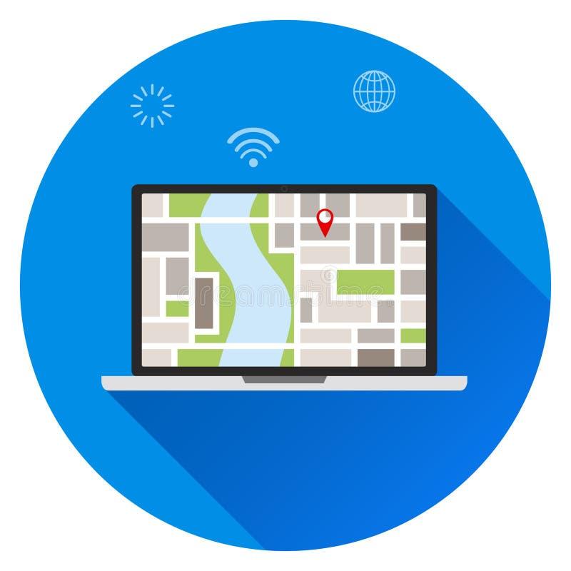 Procure pelo lugar no portátil, lugar no mapa Seu lugar, você está aqui conceitos ilustração do vetor