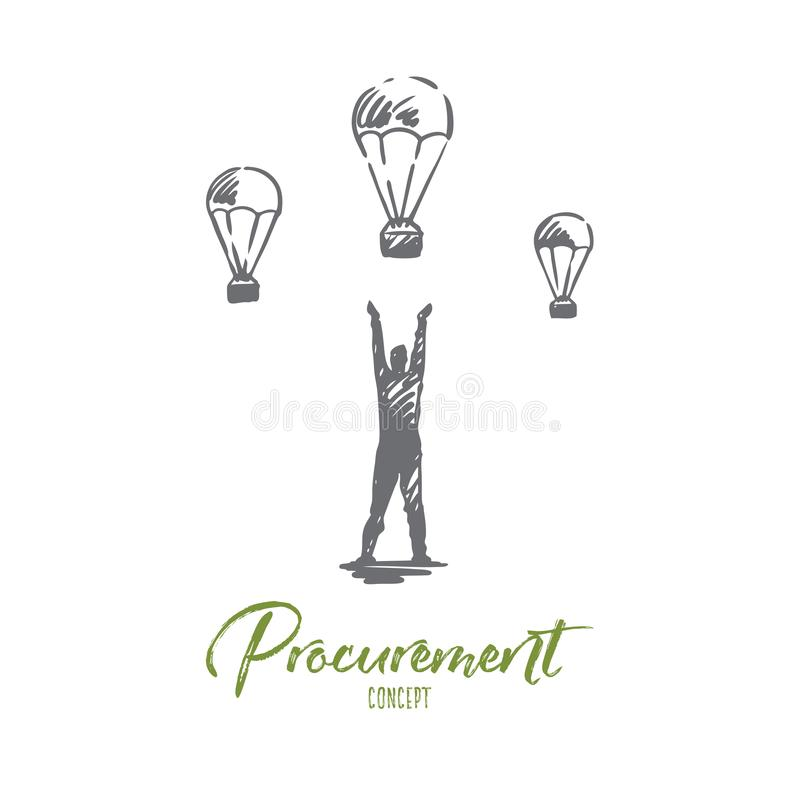 Procurement, business, customer, process concept. Hand drawn isolated vector. stock illustration