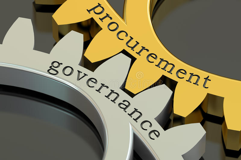 Procurement Governance concept on the gearwheels, 3D rendering. Procurement Governance concept on the gearwheels stock illustration