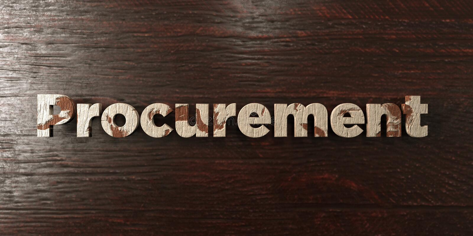 Procurement - grungy wooden headline on Maple - 3D rendered royalty free stock image. This image can be used for an online website banner ad or a print stock illustration