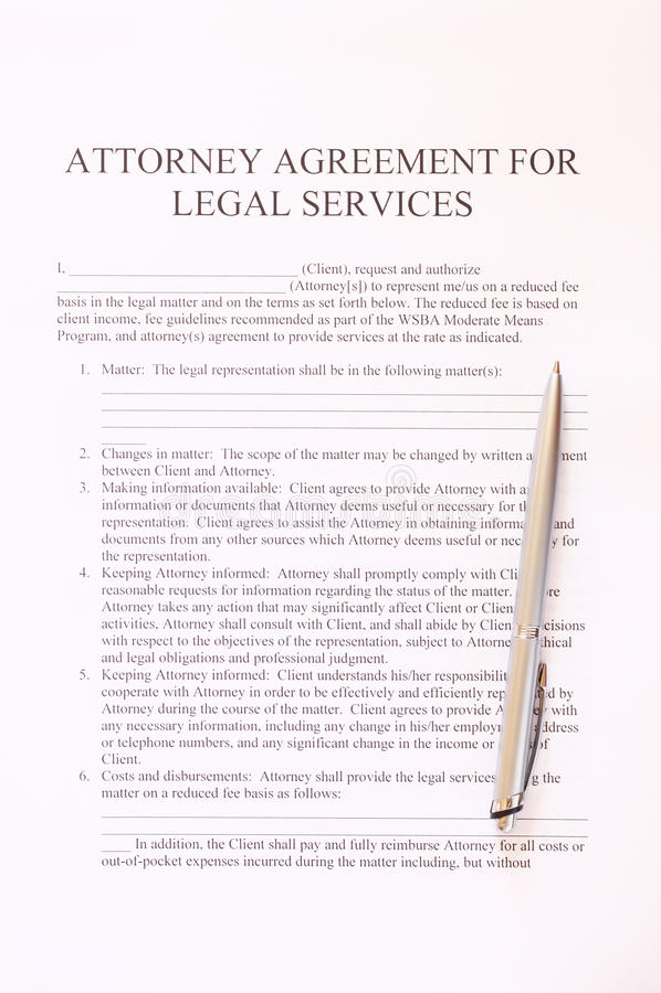 Procureursovereenkomst voor de juridische dienstenvorm en pen. hoogste mening royalty-vrije stock afbeeldingen