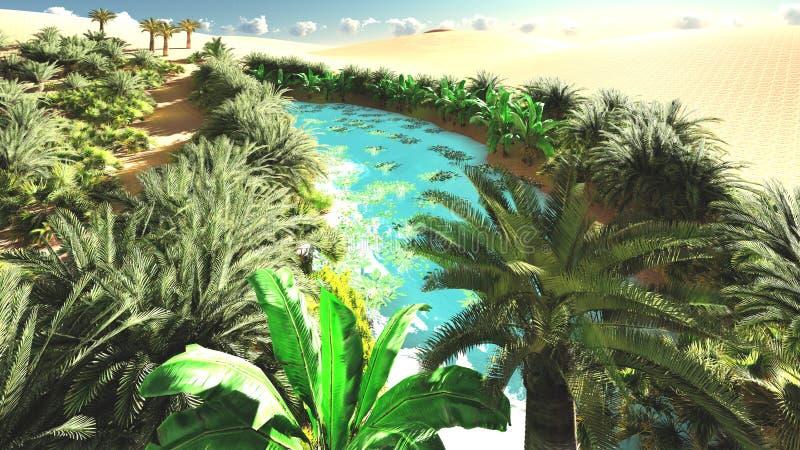 Prodiguez la flore spectaculaire sur le désert plus tard dans la journée, le rendu 3d illustration de vecteur