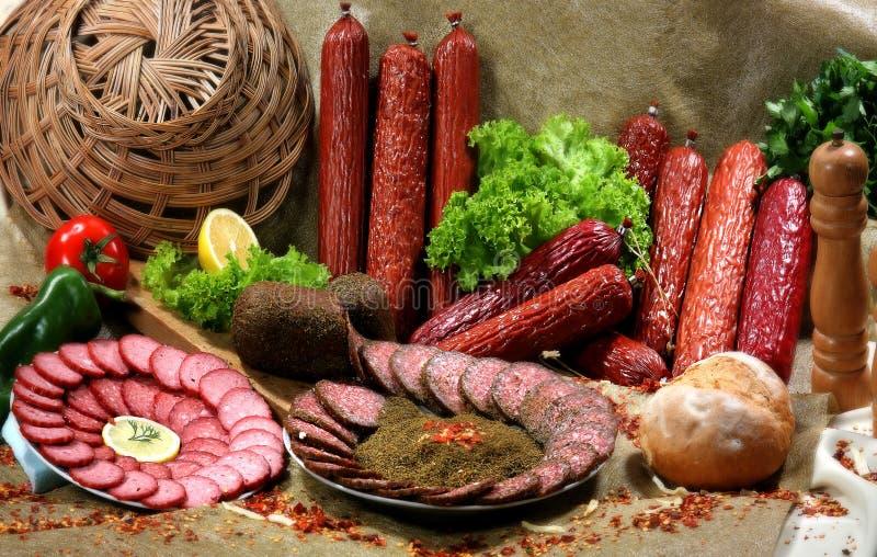Prodotti a base di carne affumicati II fotografie stock