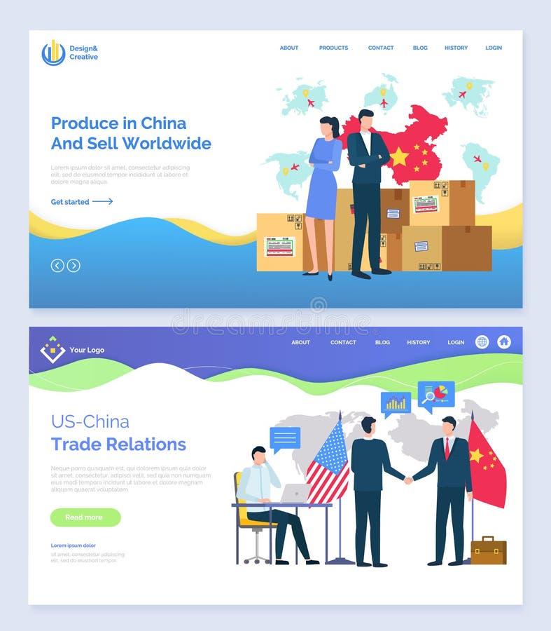 Prodotti in Cina e vendere i partner mondiali di U.S.A. illustrazione di stock