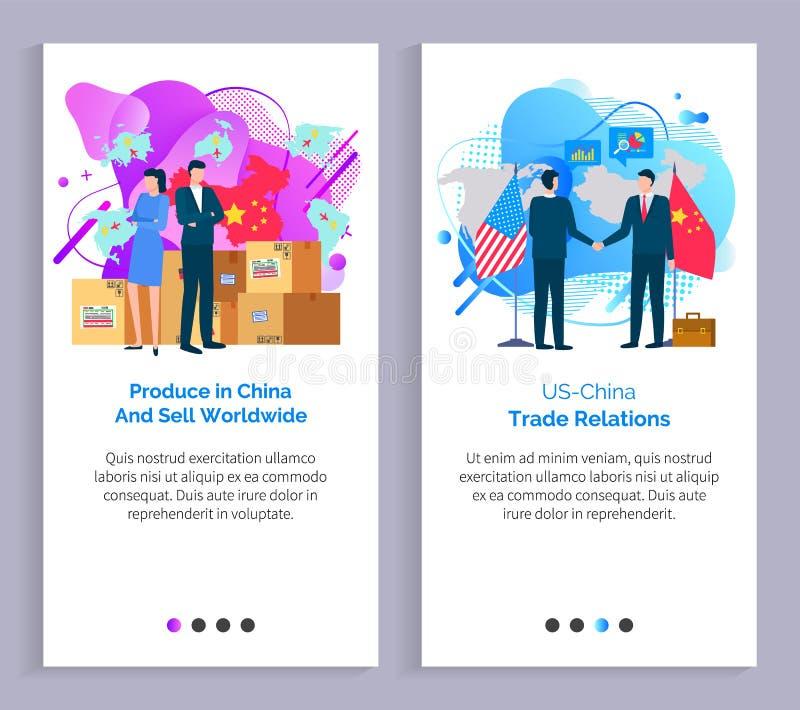 Prodotti in Cina e vendere le relazioni mondiali illustrazione di stock