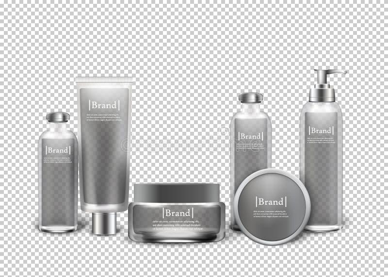 Prodotti cosmetici di lusso isolati in bottiglie royalty illustrazione gratis