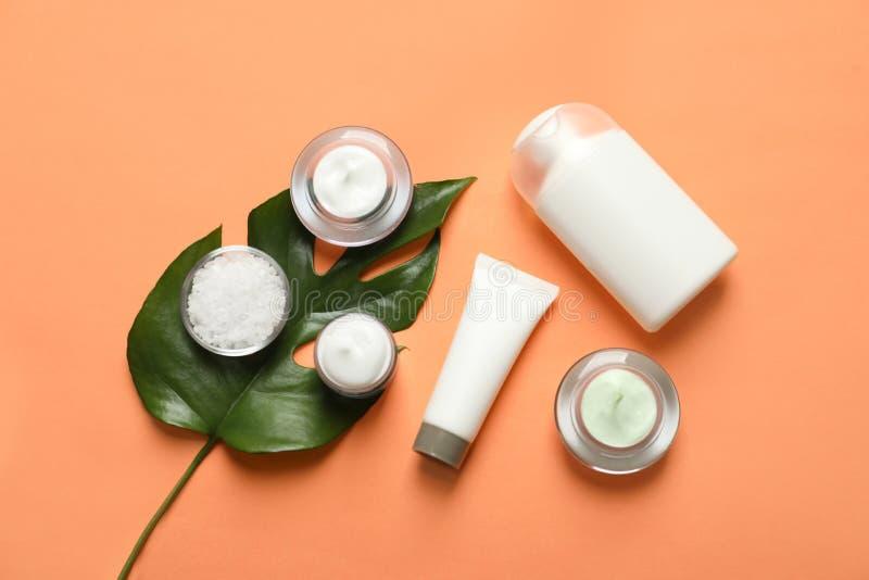 Prodotti cosmetici differenti di cura di pelle con la foglia verde immagine stock