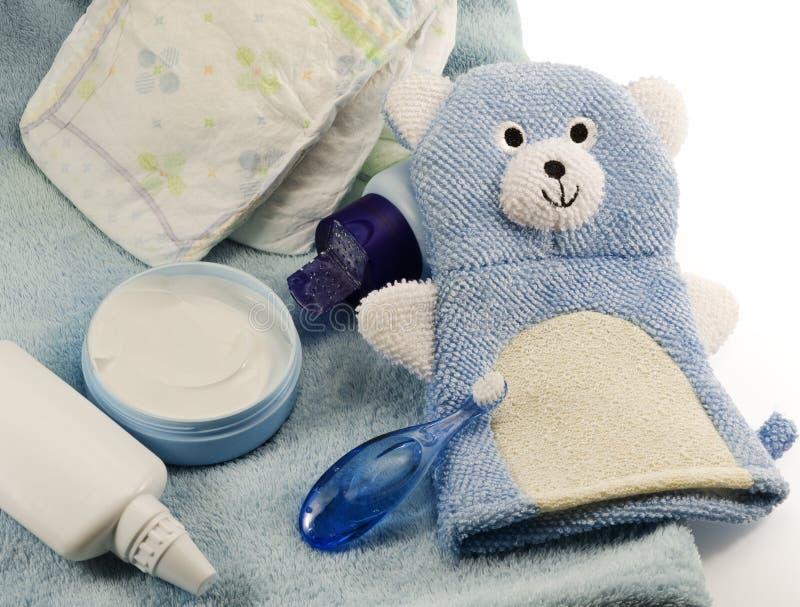 Prodotti del bagno dei bambini e oggetti di igiene fotografia stock