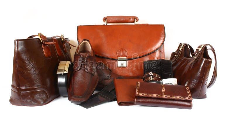 Prodotti di cuoio fotografia stock