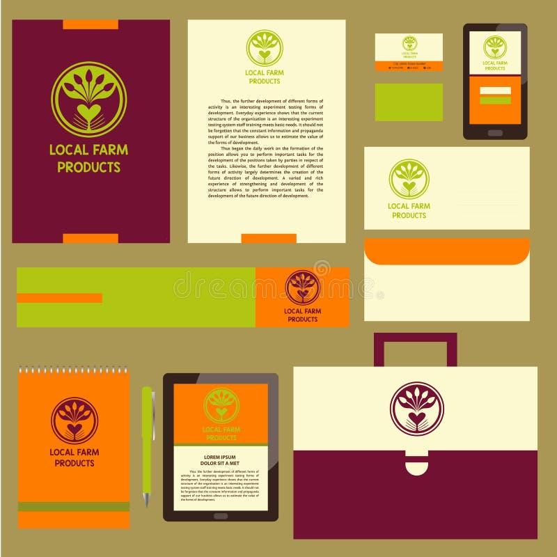 Prodotti di fattoria del locale di logo di vettore Ristorante disegnato a mano del logotype, royalty illustrazione gratis