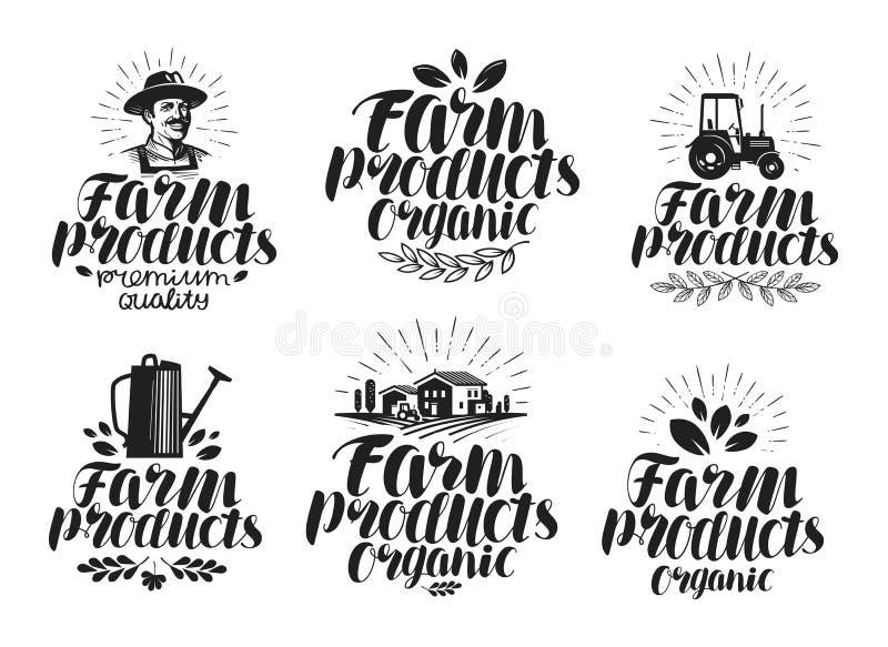 Prodotti di fattoria, insieme di etichetta Agricoltura, icona di agricoltura o simbolo Illustrazione scritta a mano di vettore de illustrazione vettoriale