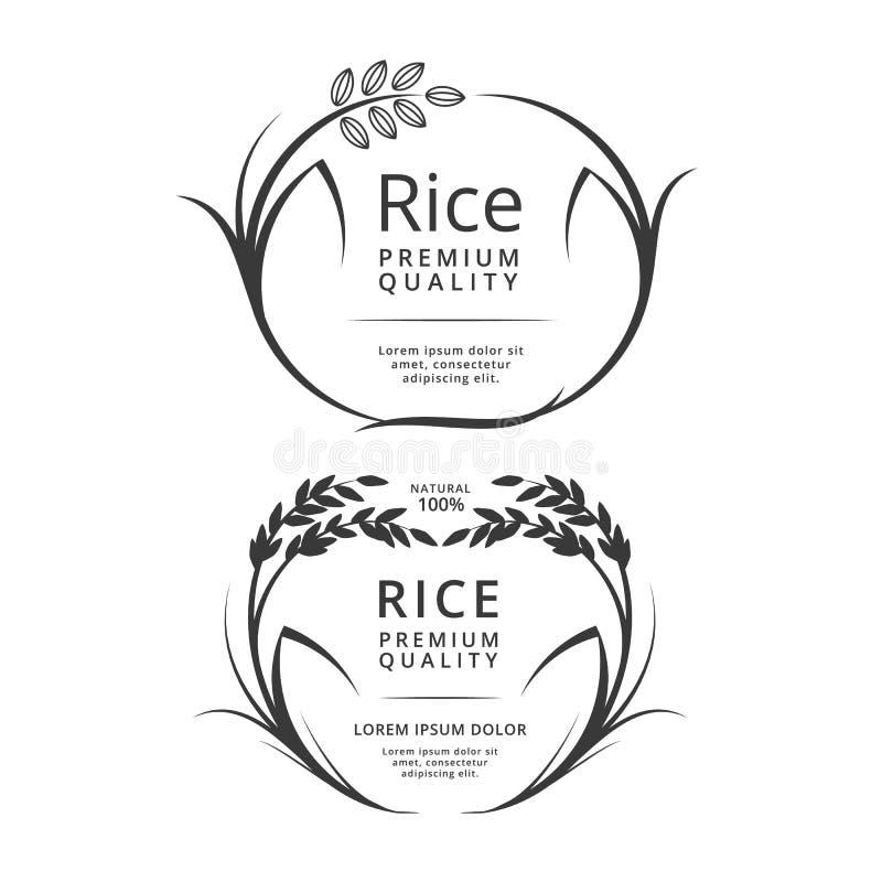 Prodotti di logo o dell'etichetta del riso illustrazione di stock