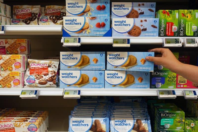 Prodotti di Weight Watchers in un deposito immagine stock libera da diritti