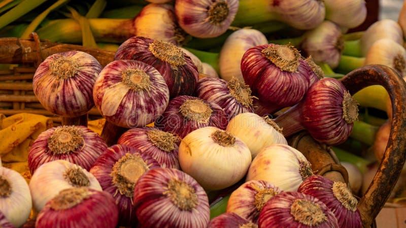 Prodotti freschi su esposizione ad un mercato locale degli agricoltori della citt? di Uzes fotografia stock
