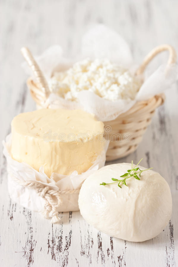 Prodotti lattier-caseario. immagine stock