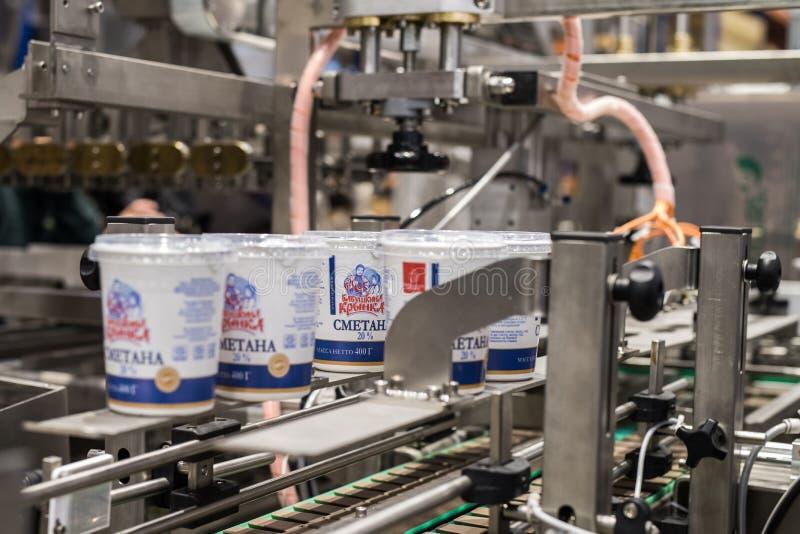 Prodotti lattier-caseario su un nastro trasportatore immagini stock libere da diritti