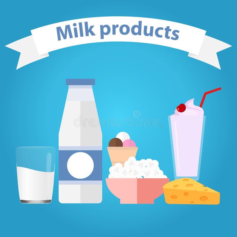 Prodotti lattiero-caseari illustrazione vettoriale