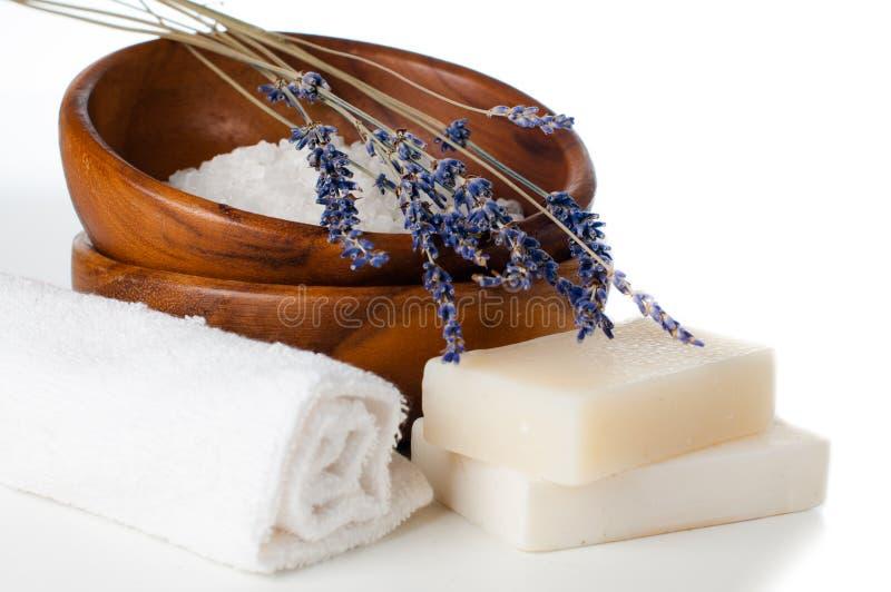 Prodotti per il bagno, la STAZIONE TERMALE, il benessere e l'igiene,  fotografia stock