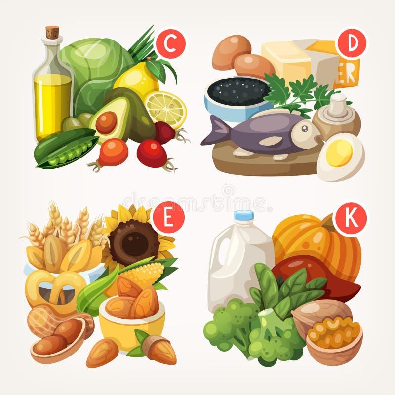 Prodotti ricchi con le vitamine illustrazione vettoriale