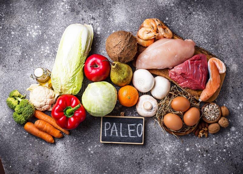 Prodotti sani per la dieta di paleo fotografie stock libere da diritti