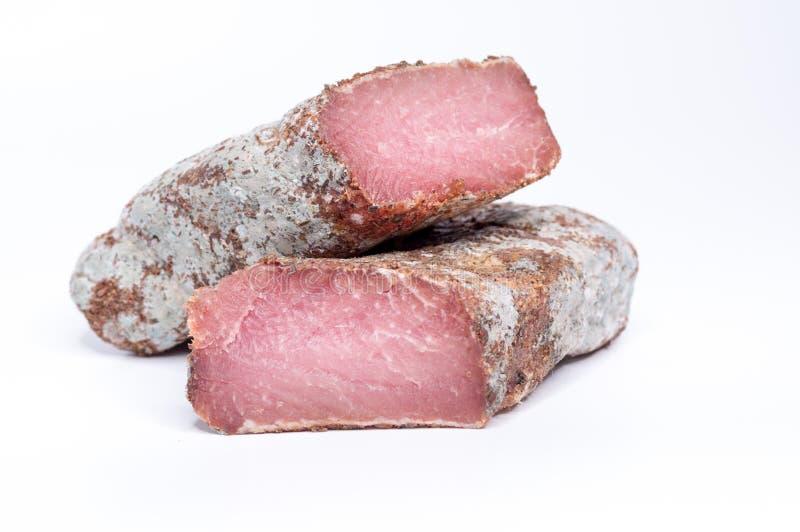 Prodotto a base di carne nella sezione Carne luminosa di Borgogna Due parti di carne fotografia stock