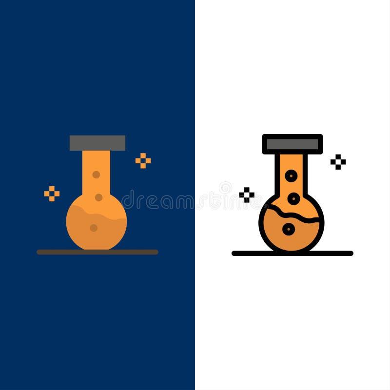 Prodotto chimico, laboratorio, icone del laboratorio Il piano e la linea icona riempita hanno messo il fondo blu di vettore illustrazione di stock