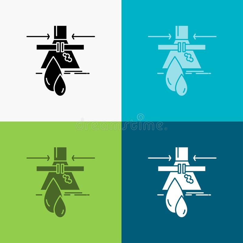 Prodotto chimico, perdita, rilevazione, fabbrica, icona di inquinamento sopra vario fondo progettazione di stile di glifo, proget illustrazione di stock