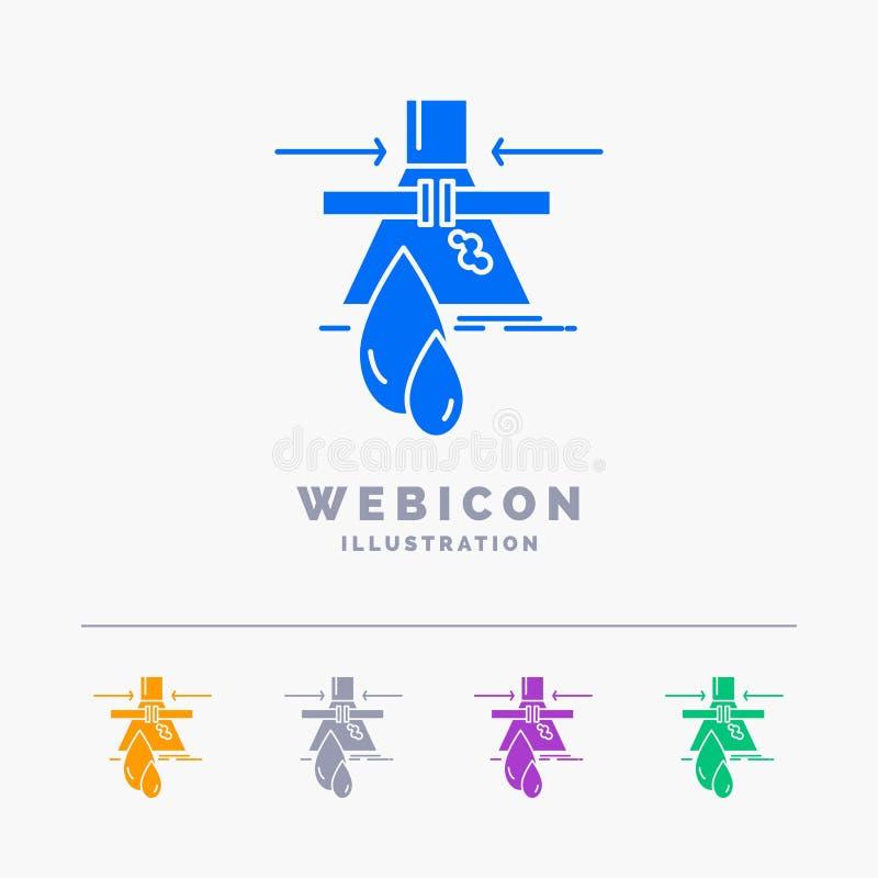 Prodotto chimico, perdita, rilevazione, fabbrica, modello dell'icona di web di glifo di colore di inquinamento 5 isolato su bianc royalty illustrazione gratis