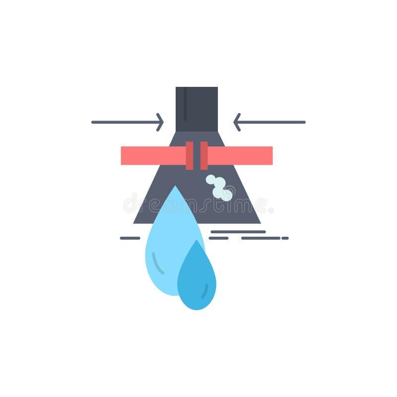 Prodotto chimico, perdita, rilevazione, fabbrica, vettore piano dell'icona di colore di inquinamento illustrazione vettoriale