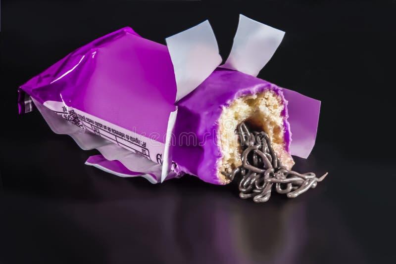 Prodotto da forno prodotto fabbrica riempito cioccolato fotografia stock