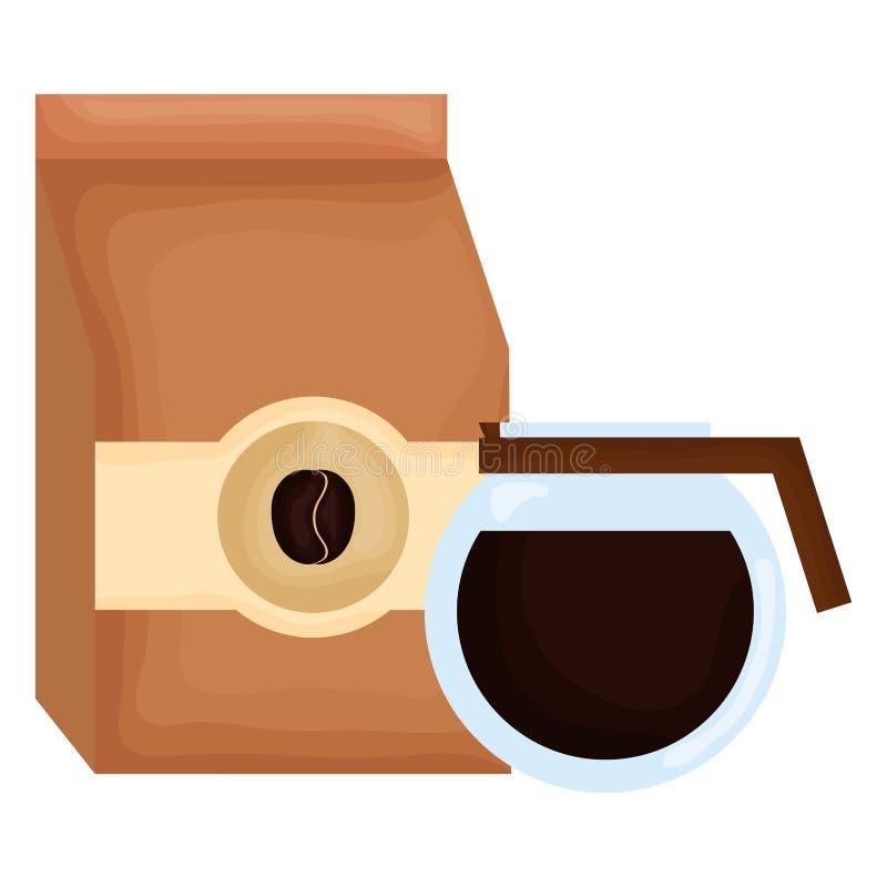 Prodotto della borsa di caff? con la macchinetta del caff? illustrazione vettoriale