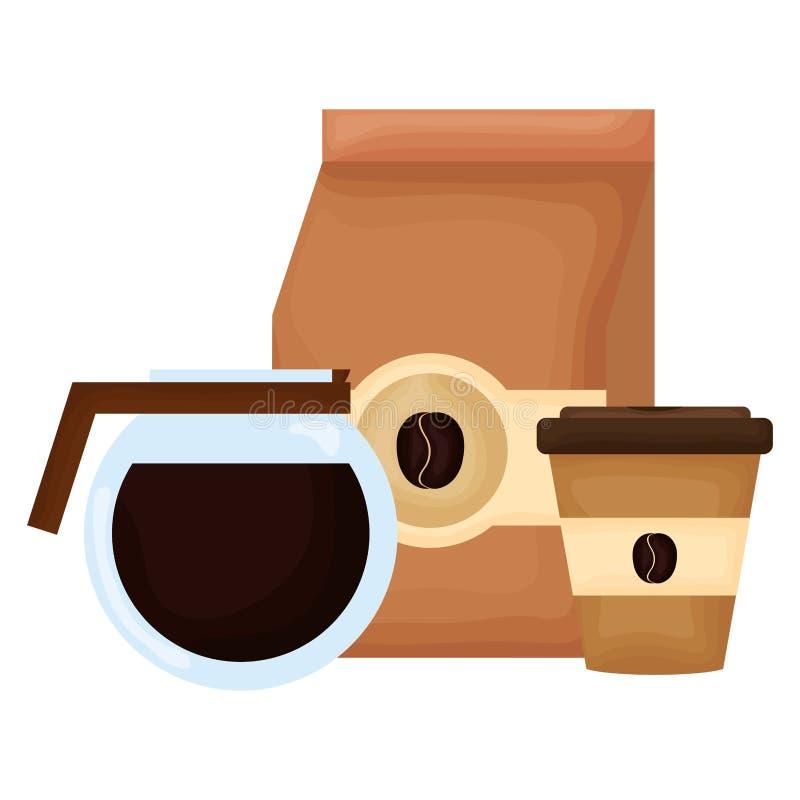 Prodotto della borsa di caff? con la macchinetta del caff? illustrazione di stock