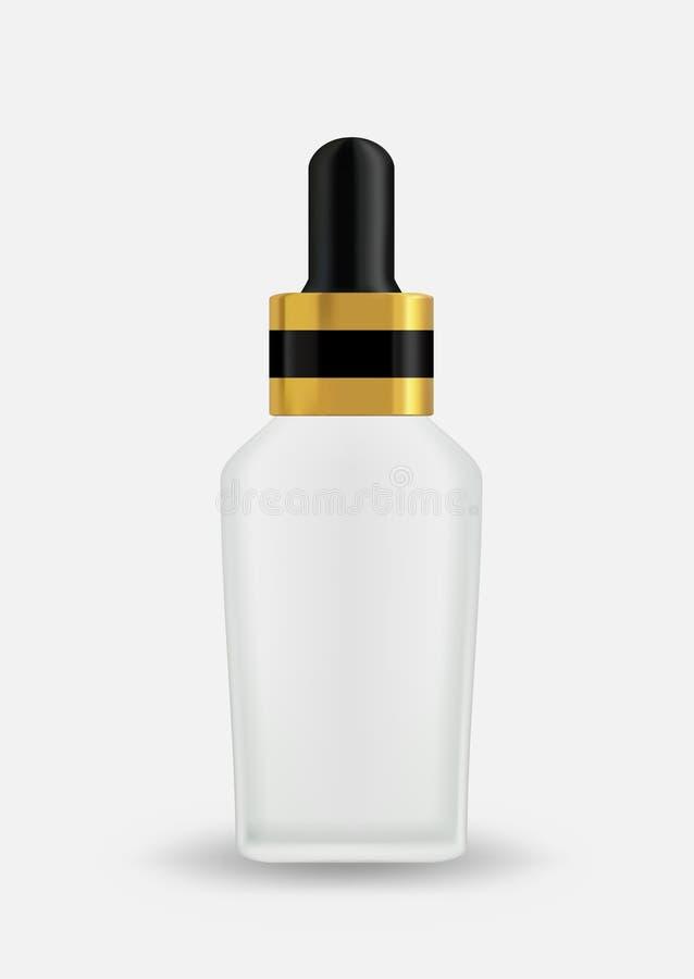 Prodotto dello skincare dei cosmetici del cappuccio dell'oro del quadrato della bottiglia di vetro del contagoccia illustrazione di stock