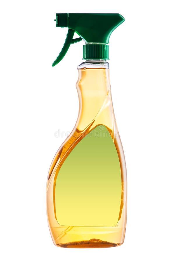 Prodotto di pulizia dello spruzzo della Camera Bottiglia di plastica con l'isolante detergente fotografia stock