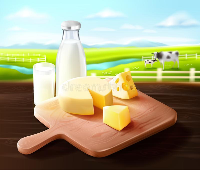 Prodotto lattiero-caseario dall'azienda agricola del latte illustrazione vettoriale
