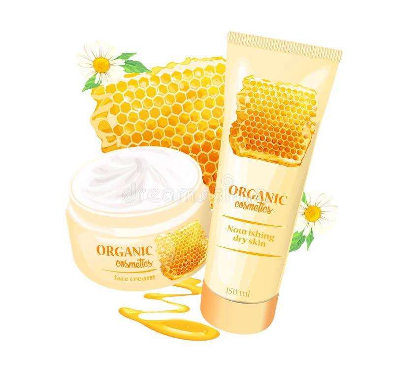 Prodotto organico dei cosmetici con il vettore delle fragole royalty illustrazione gratis