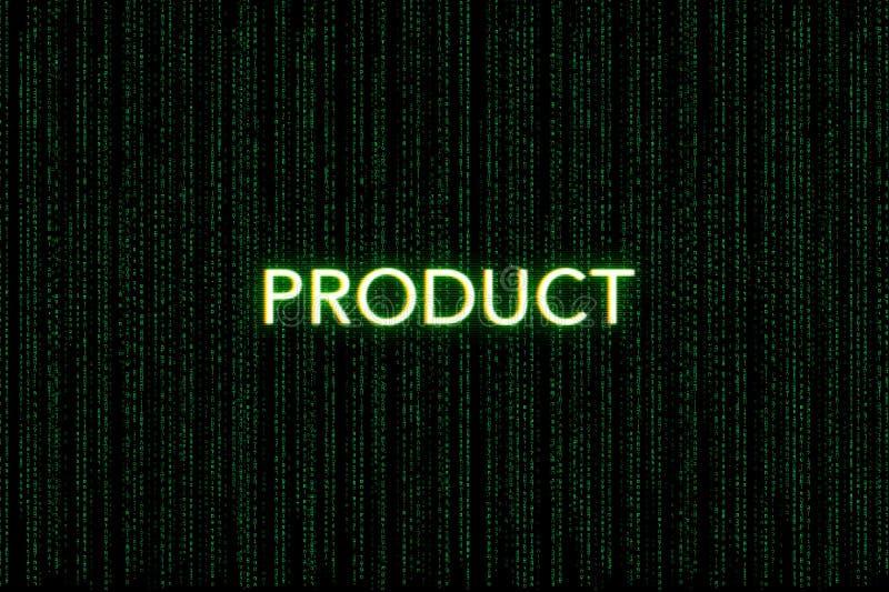 Prodotto, parola chiave della mischia, su un fondo verde della matrice fotografie stock libere da diritti