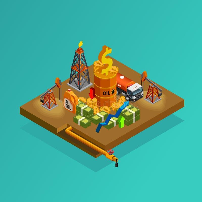 A produção da indústria petroleira lucra o cartaz isométrico ilustração royalty free