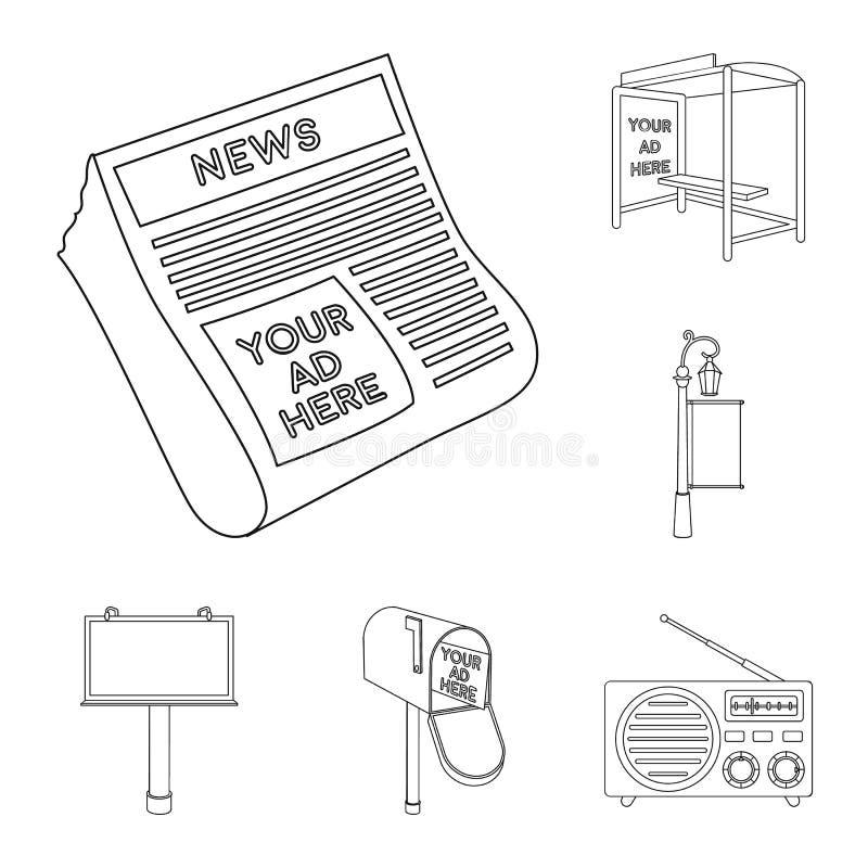Produção de ícones do esboço da propaganda na coleção do grupo para o projeto Web do estoque do símbolo do vetor do equipamento d ilustração stock