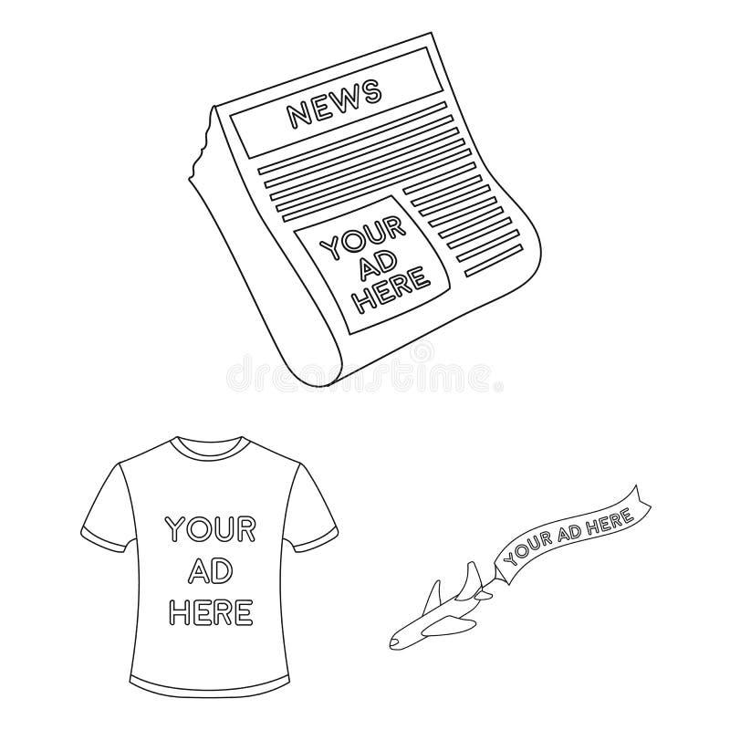 Produção de ícones do esboço da propaganda na coleção do grupo para o projeto Web do estoque do símbolo do vetor do equipamento d ilustração royalty free