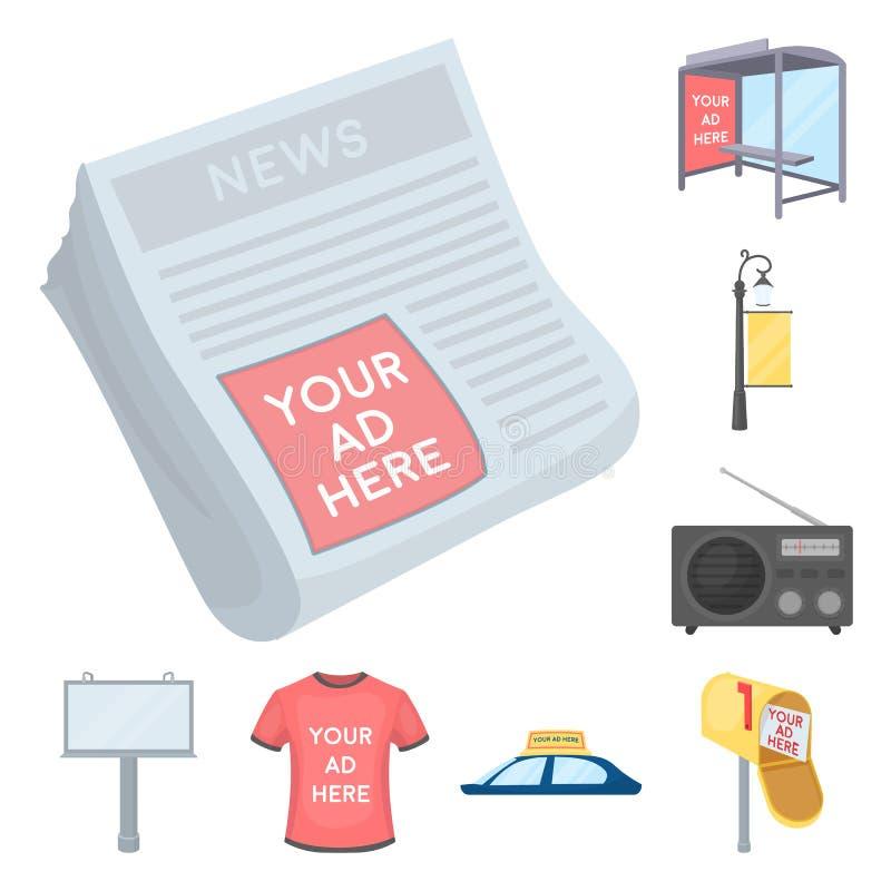 Produção de ícones dos desenhos animados da propaganda na coleção do grupo para o projeto Web do estoque do símbolo do vetor do e ilustração royalty free
