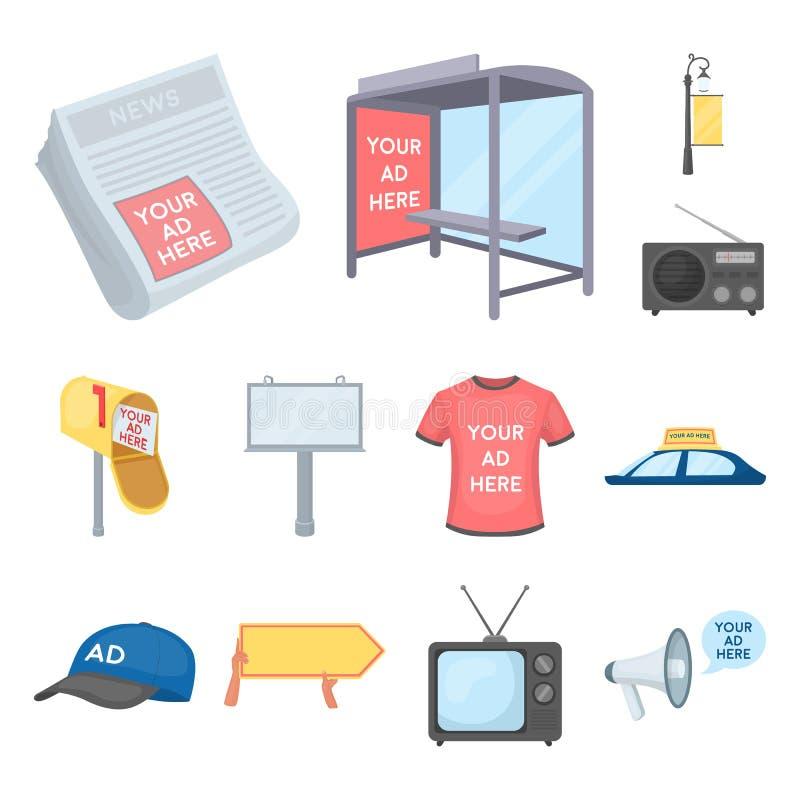 Produção de ícones dos desenhos animados da propaganda na coleção do grupo para o projeto Web do estoque do símbolo do vetor do e ilustração stock